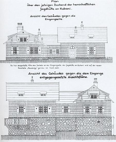 I schwarzenberská lovecká chata na Boubíně, dnes stojící v hlubocké oboře a zde zachycená nákresem z roku 1933, náležela k Horní Vltavici