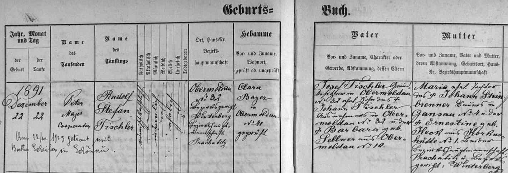 Podle záznamu v matrice obce Horní Vltavice narodil se tu 22. prosince roku 1891 a byl téhož dne pokřtěn jménem Rudolf Stefan Tischler - otec Josef Tischler, majitel zdejší usedlosti čp. 32 byl synem Johanna Tischlera a Barbary, roz. Sellnerové z Horní Vltavice, matka Maria byla dcerou Johanna Steinbrennera z Pravětína čp. 4 a jeho ženy Ernestiny, roz. Keckové z Korkusovy Huti čp. 1 - přípis zaznamenává i sňatek Rudolfa Tischlera s Berthou Scheiberovou v Pěkné (tehdy Šenava) 22. října roku 1929