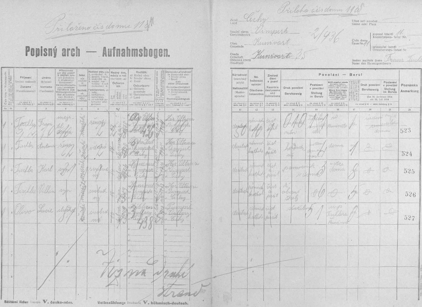 Popisný arch sčítání lidu z roku 1921 pro stavení čp. 11 v Kunžvartu