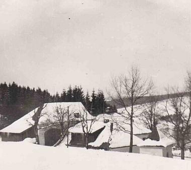 Myslivna na snímku z roku 1921, stromy u kapličky jsou ještě mladé...