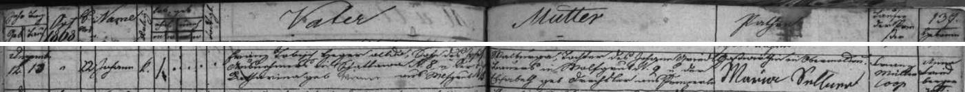 Záznam hornovltavické křestní matriky o narození jeho děda Johanna Tobische v Lenoře