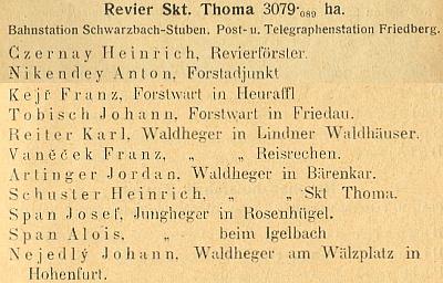 V knížecí schwarzenberské ročence 1913 je uveden Johann Tobisch jako čekatel ve Frýdavě na revíru Svatý Tomáš, kde byl tehdy lesním adjunktem Antonín Nikendey, otec Ing. Antonína Nikendeye mladšího