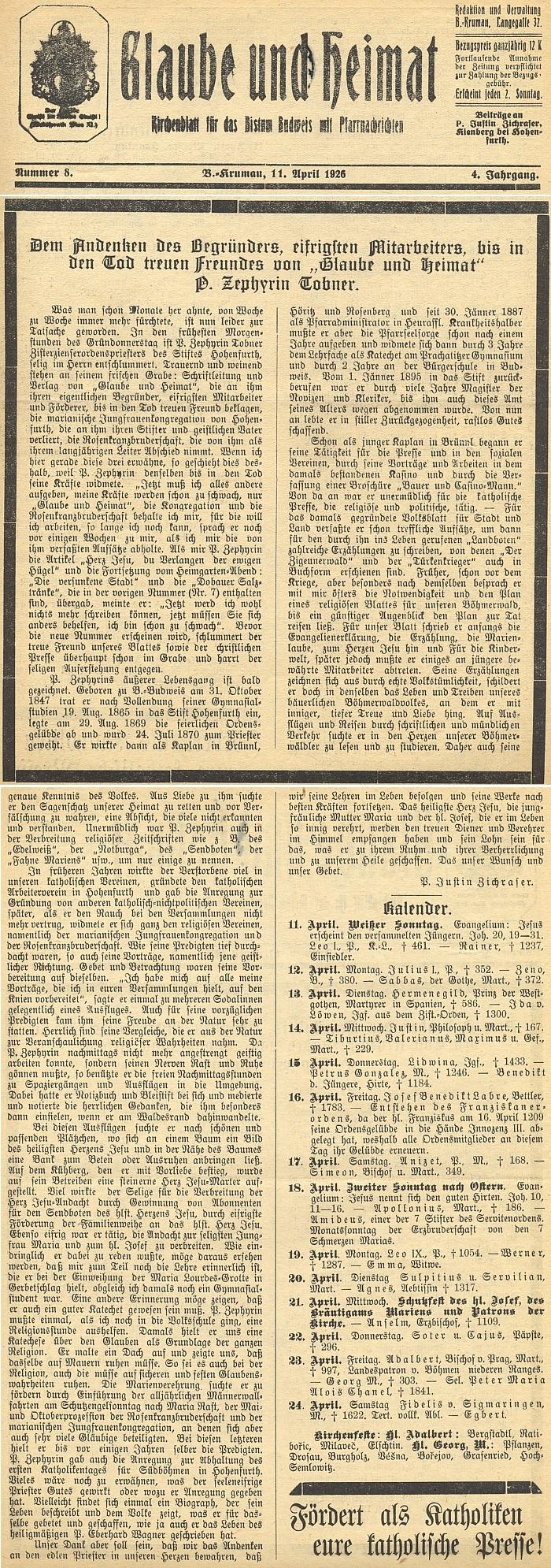 """Nekrolog v tehdy českokrumlovském církevním listu """"Glaube und Heimat"""" napsal o svém zesnulém spolubratru P. Justin Zichraser"""