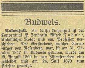 Oznámení o jeho skonu v českobudějovickém německém tisku