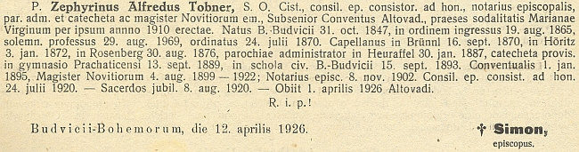 Zpráva o jeho úmrtí v ordinariátním listu českobudějovické diecéze