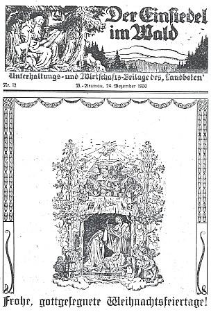 """Titulní list vánočního čísla zábavné přílohy listu Landbote, zvané """"Lesní poustevník"""" (1930)"""