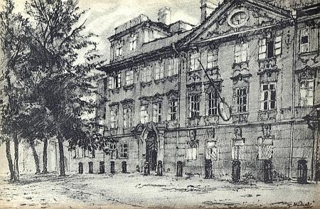 Buquoyský palác v Praze, kde Tomaschek bydlil v letech 1806-1824, na kresbě R. Michaela