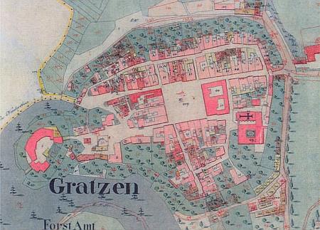 Nové Hrady, jak vyhlížely v době jeho pobytu tam, na tzv. císařském otisku mapy stabilního katastru z roku 1826