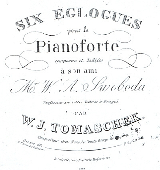 Titulní strana (1819) jeho Šesti eklog pro klavír, věnovaných příteli Václavu Aloisi Svobodovi
