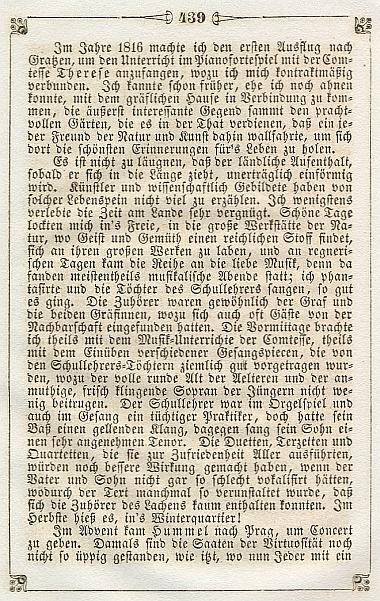 Počátek pasáže o pobytu v Nových Hradech z jeho pamětí, jak je otiskl almanach Libussa