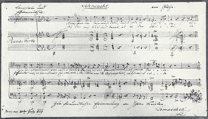 Rukopisný záznam zhudebněné Goethovy básně Touha se skladatelovým podpisem