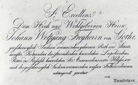 """Skladatelovo věnování (1818) """" svobodnému pánu z Göthe"""""""