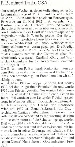 Jeho nekrolog v krajanském časopise