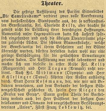 Dva referáty českobudějovického německého listu o jeho zdejších divadelních rolích