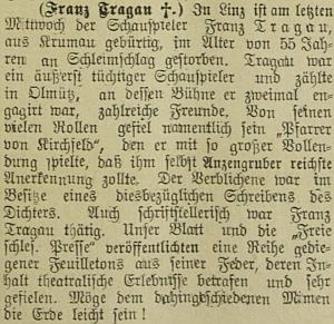 Na zprávě o Tragauově úmrtí, zveřejněném v olomouckém německém listě, je zajímavá připomínka literární činnosti zemřelého