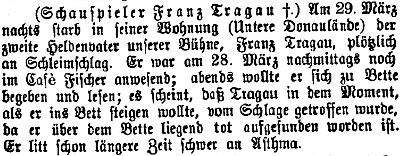 Tato zpráva o úmrtí v regionálním periodiku (z Braunau am Inn) zmiňuje dlouholeté těžké astma, jímž herec Tragau trpěl