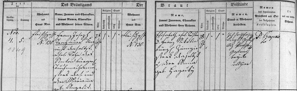 Záznam o svatbě rodičů v českokrumlovské oddací matrice