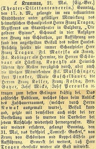 Takto o jeho vystoupení v rodném městě referoval Budweiser Zeitung vroce1896