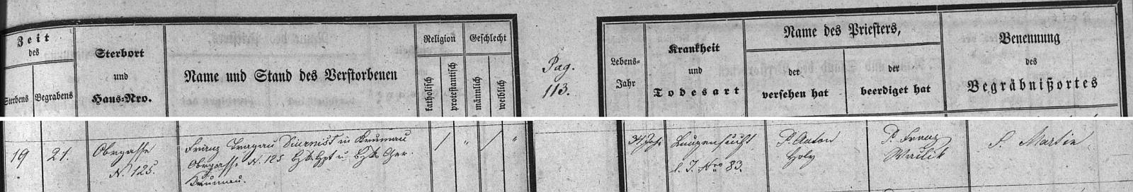 Záznam o otcově skonu v českokrumlovské úmrtní matrice