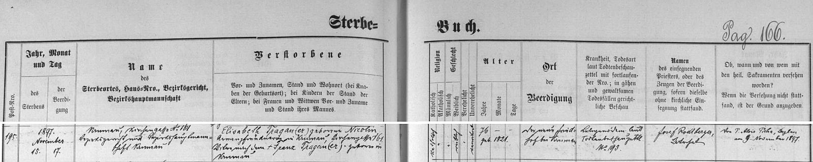 Záznam o matčině skonu v českokrumlovské úmrtní matrice