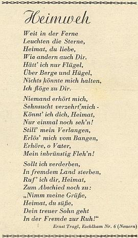 Jeho působivá báseň se objevila hned ve druhém ročníku krajanského měsíčníku v březnu roku 1949