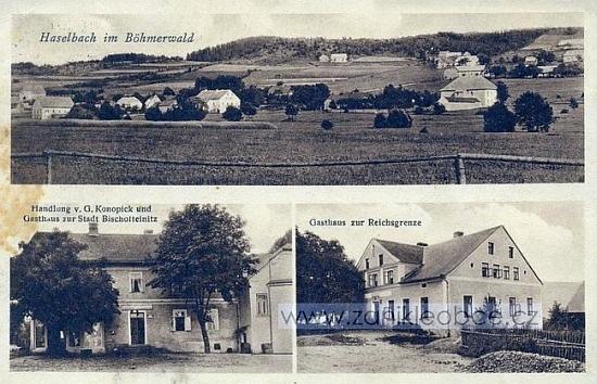 """V Lískové """"na Šumavě"""" bývaly i dva hostince: """"U města Horšovský Týn"""" a """"U říšské hranice"""""""
