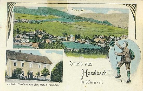 """Stará kolorovaná pohlednice s téměř horským pozdravem """"aus Haselbach im Böhmerwald"""""""
