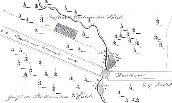 Tzv. Engel Werk v rodné Lískové při silnici od Klenčí na situačním plánu z roku 1850 a na snímku z počátku 20. století