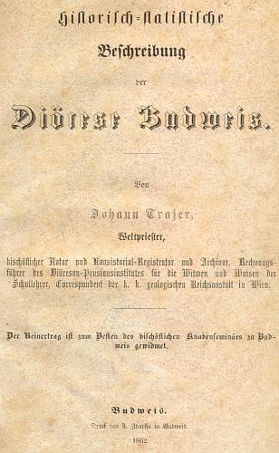 Titulní list (1862) jeho popisu českobudějovickédiecéze