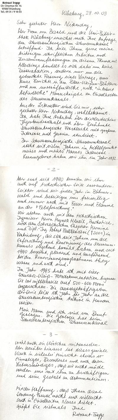 Její dopis z října roku 2003 Ing. Antonínu Nikendeyovi
