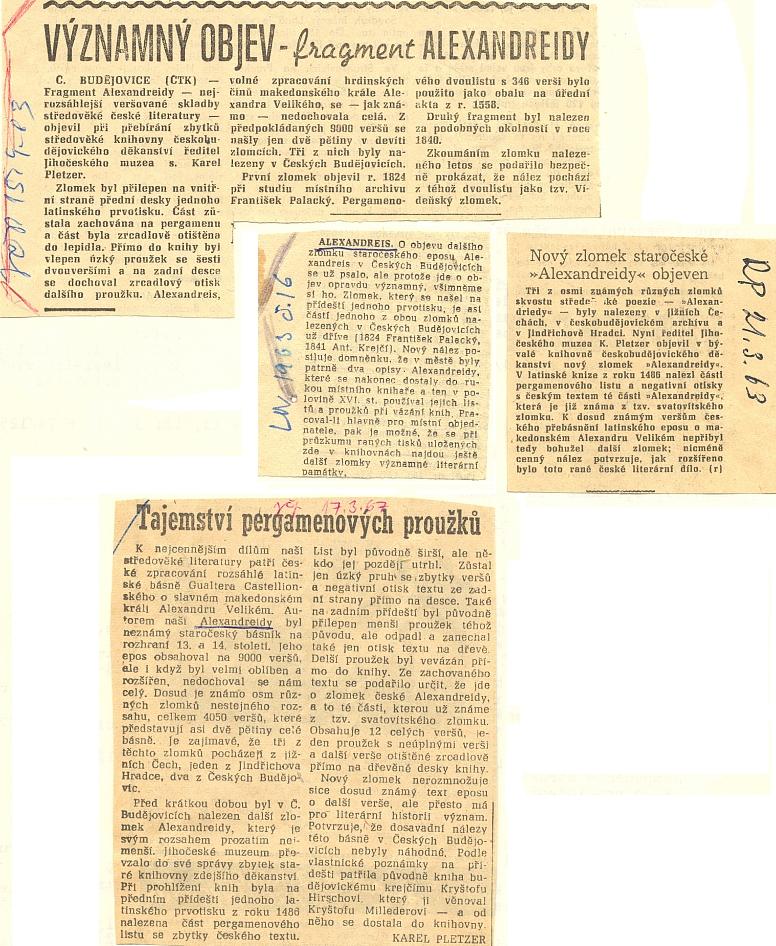 Několik výstřižků k Pletzerovu objevu nového fragmentu staročeské Alexandreidy v Českých Budějovicích roku 1963