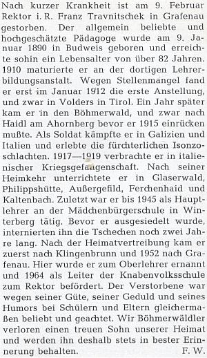 Nekrolog na stránkách krajanského měsíčníku připomíná i jeho dvouletou internaci po válce aučitelské působení v Grafenau