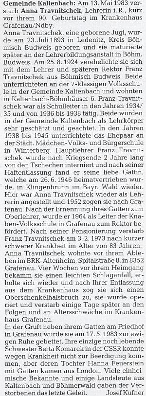Autorem nekrologu jeho ženy byl Josef Kufner