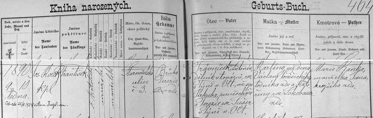 Český záznam o jeho narození v českobudějovické křestní matrice