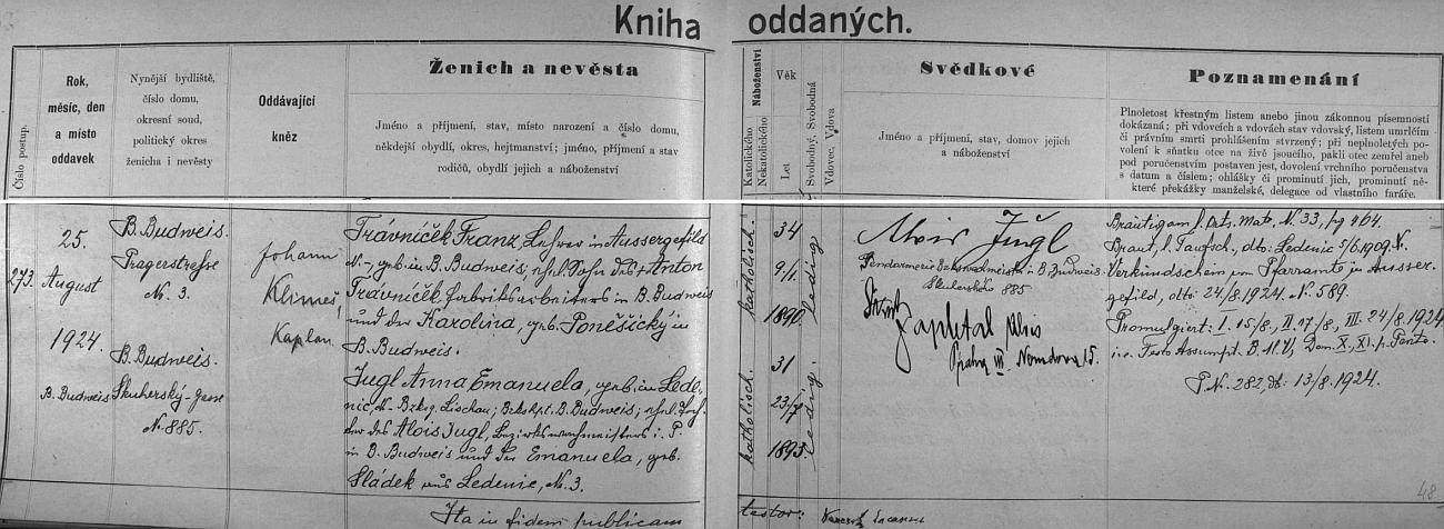 Německý záznam (s českým psaním ženichova příjmení) o jeho svatbě v českobudějovické oddací matrice