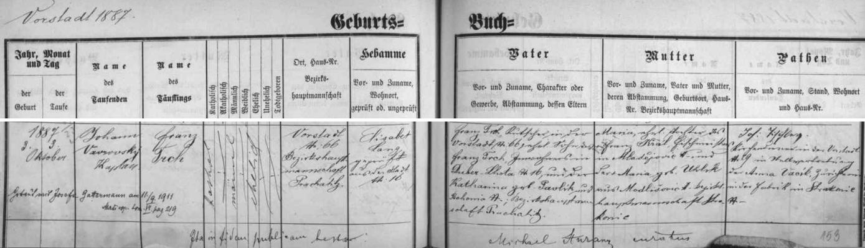 Záznam o jeho narození a křtu ve vimperské matrice s pozdějším přípisem o svatbě s Johannou Gattermannovou