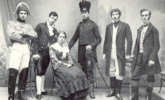 """Schillerova slavnost ve Vimperku roku 1912 a představení """"Die Lützower"""", ve kterém hrál Franz Trch otce (stojící druhý zprava)"""