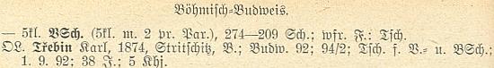 Data jejího tchána, řídícího učitele Karla Třebina, v seznamu německého učitelstva v Čechách k roku 1928