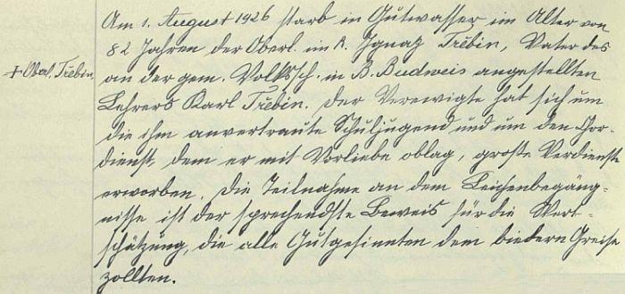 Záznam o úmrtí Ignaze Třebina v kronice českobudějovické německé dívčí školy