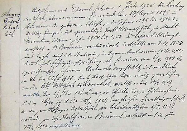 Zápis s jeho vlastnoručním životopisem v hornostropnické školní kronice