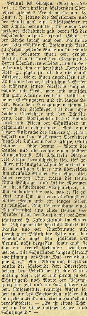 Obsáhlá zpráva o jeho rozloučení se školou v Dobré Vodě u Nových Hradů včeskobudějovickém německém listu