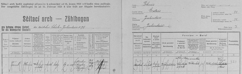 Arch sčítání lidu z roku 1921 pro školu v Hranicích u Nových Hradů (čp. 79)