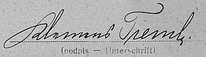 Podpis na sčítacím archu z roku 1921