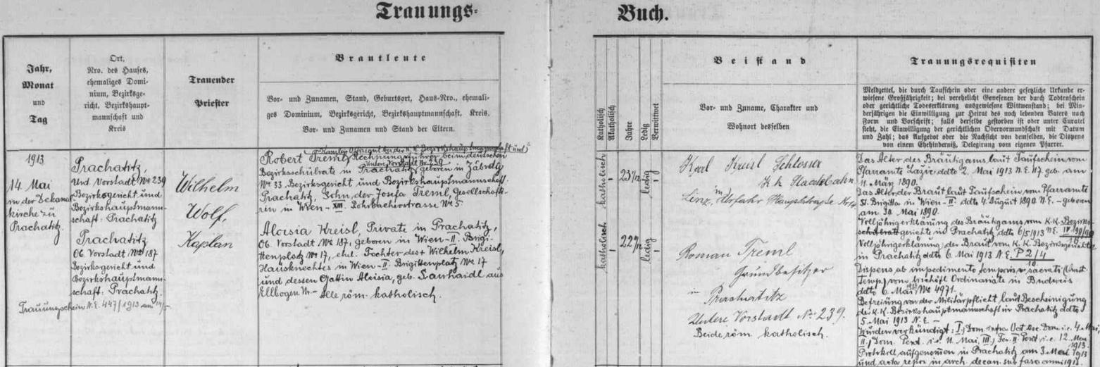 Záznam prachatické oddací matriky o jeho zdejší svatbě