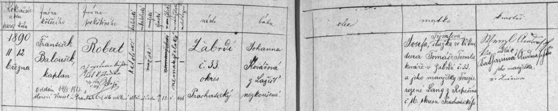 Záznam o jeho narození v Zábrdí čp. 33 a křtu v kostele sv. Mikuláše v Lažišti, kam Zábrdí farností náleží