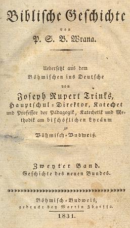"""Titulní listy (1831) jeho dvoudílného překladu Wranovy """"Hystorye biblické"""""""