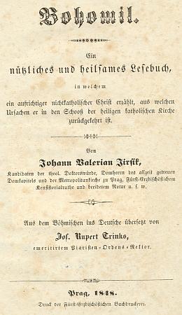 Vazba a titulní list (1848) spisu pozdějšího biskupa českobudějovického (Jirsík se jím stal v roce 1851), který Trinks přeložil do němčiny