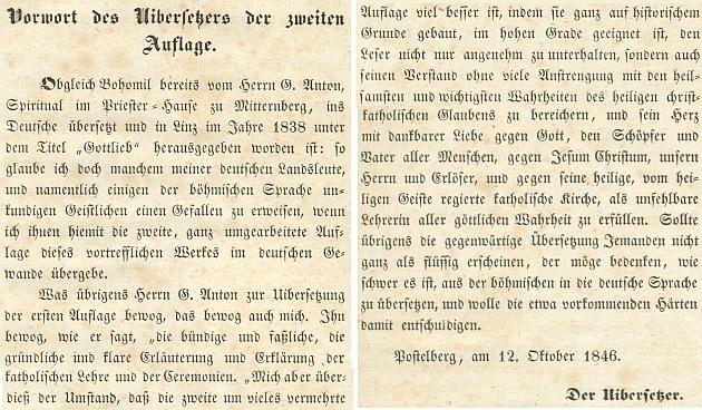 """V předmluvě tohoto druhého vydání Jirsíkova """"Bohomila"""" upozorňuje, že německy už vyšel v roce 1838 podtitulem """"Gottlieb"""" v Linci zásluhou G. Antona, spirituála kněžského domu v Mitterbergu"""