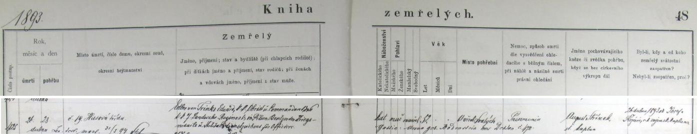 Záznam plzeňské úmrtní matriky o otcově úmrtí 26. dubna 1893 v 52 letech na pneumonii
