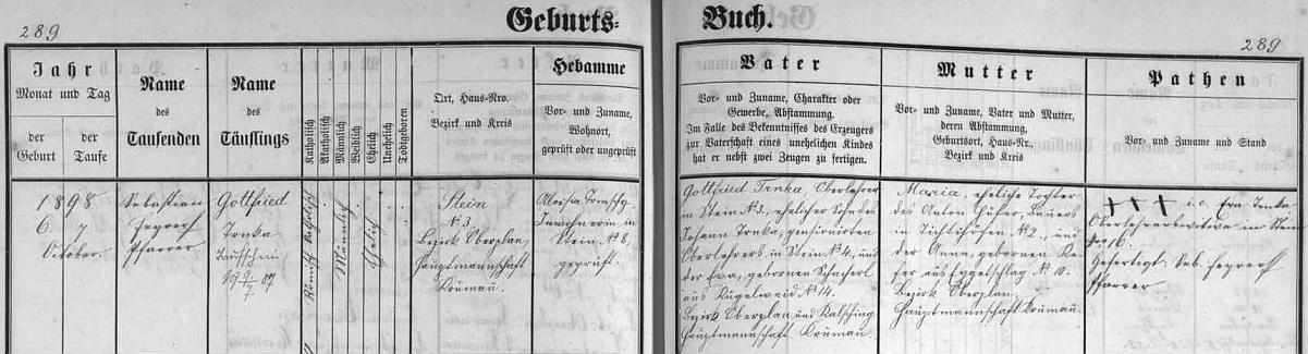 Záznam z matriky narozených v Polné na Šumavě svědčí o tom, že se narodil tamnímu řídícímu učiteli Gottfriedu Trnkovi staršímu (jeho otec Johann byl tu rovněž ředitelem školy, jeho žena Eva, roz. Schacherlová, pocházela zKuklova) a jeho manželce Marii, roz. Höferové, dceři Antona Höfera z Dětochova a jeho ženy Anny, roz. Keferové zezaniklé Bližné